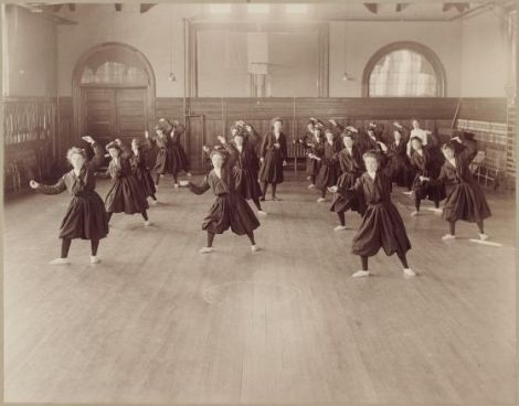 Photo of Women Massachusetts School for the Feeble-Minded.: Second Fencing Position., c. 1903